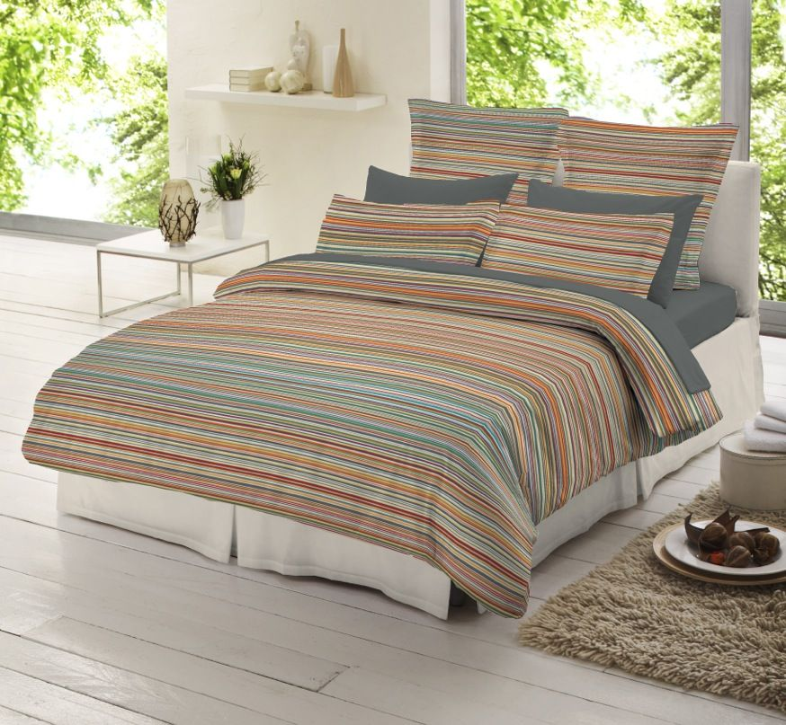 Striped Flannelette Boys Bedding / Duvet Cover Set (4