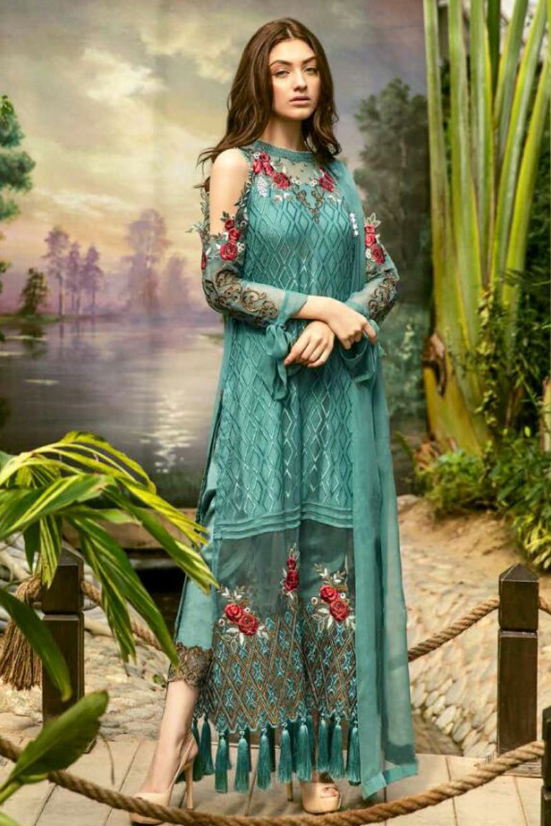 0a2fa655bc Rama-Green-Georgette-Long-Cold-Shoulder-Sleeves-Heavy-Embroidery-Work- Pakistani-Salwar-Suit-With-Pom-Pom-And-Pant-Style-Bottom-19001-7980  #wholesale ...