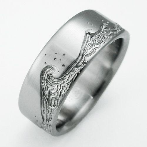 Eastbourne 3 Titanium Ring With Waves Titanium Wedding Rings
