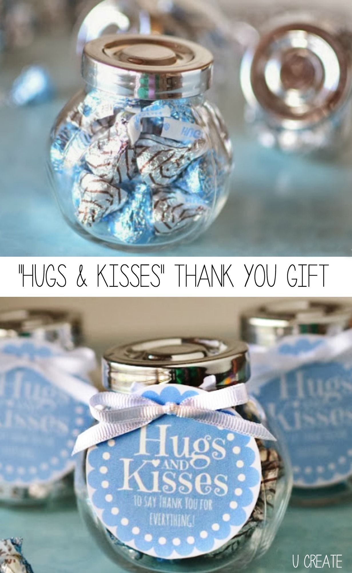 Hugs And Kisses Thank You Jar With A Free Printable Tag Baby Shower Thank You Gifts Small Thank You Gift Thank You Gifts