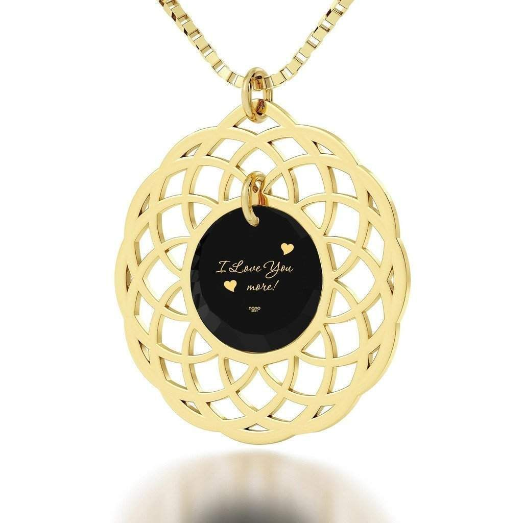 """""""I Love You More"""", 24k Gold Plated Necklace, Cubic Zirconia"""