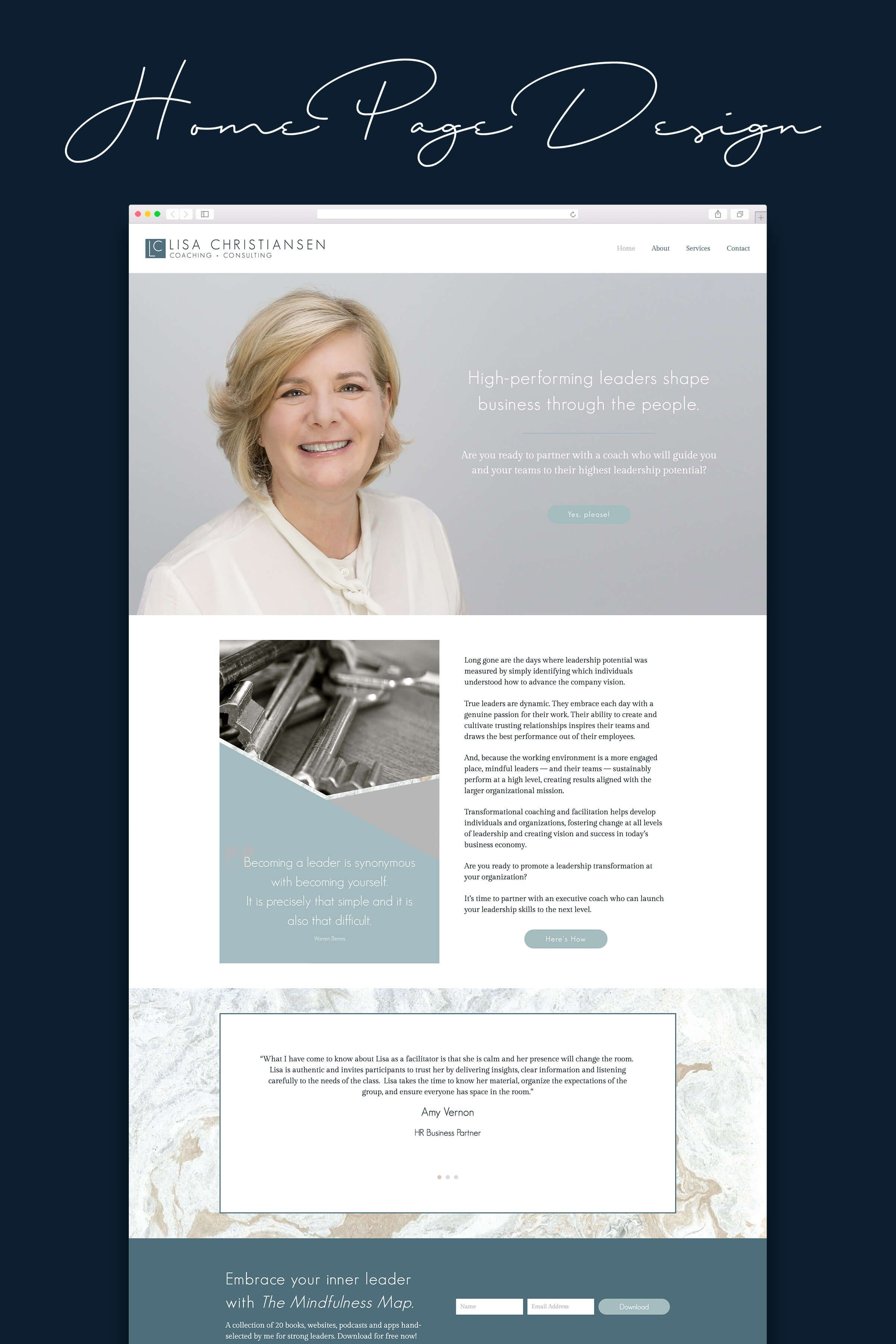 Wordpress Website Design For Coaches Home Page Design For Coach Consultant Web Design Portfolio Web Design Portfolio Website Design