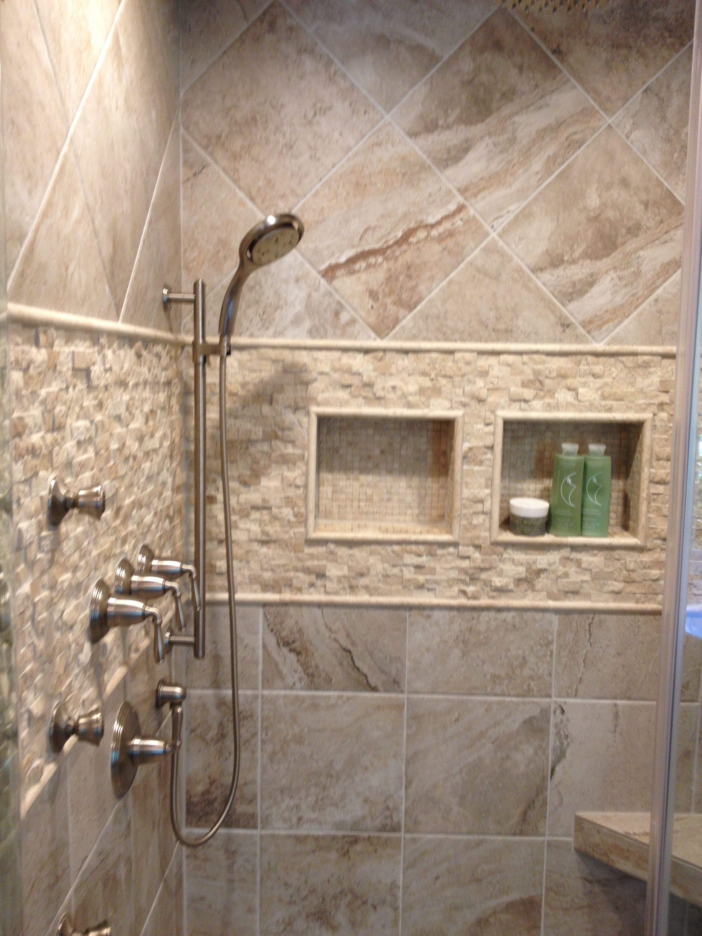 Mikonos Coral Sand Porcelain Tiles Installed In A Shower With Stone Accents Part 26