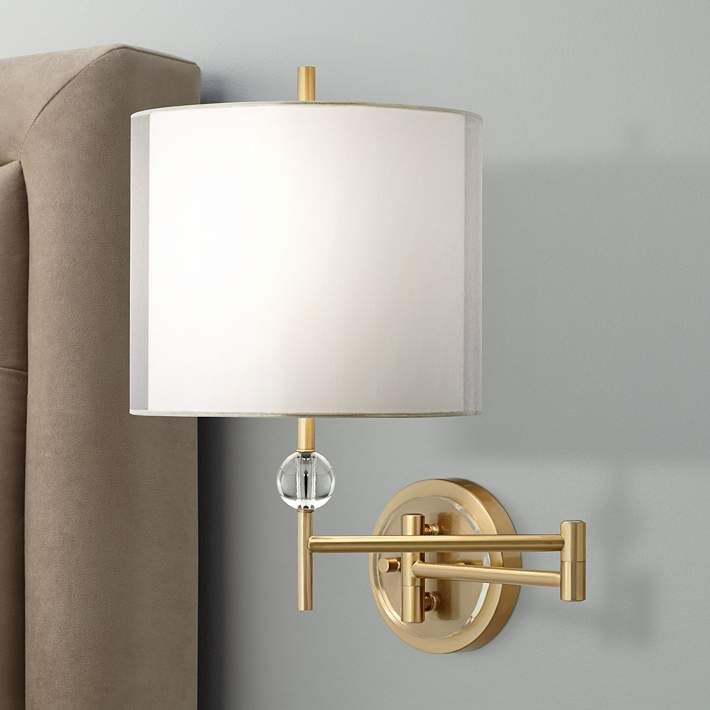 Kohle Brass And Acrylic Ball Swing Arm Plug In Wall Lamp 1f058
