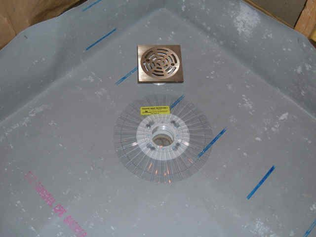 A Neo Angle Shower Being Installed With Chloraloy Cpe Pan Liner A