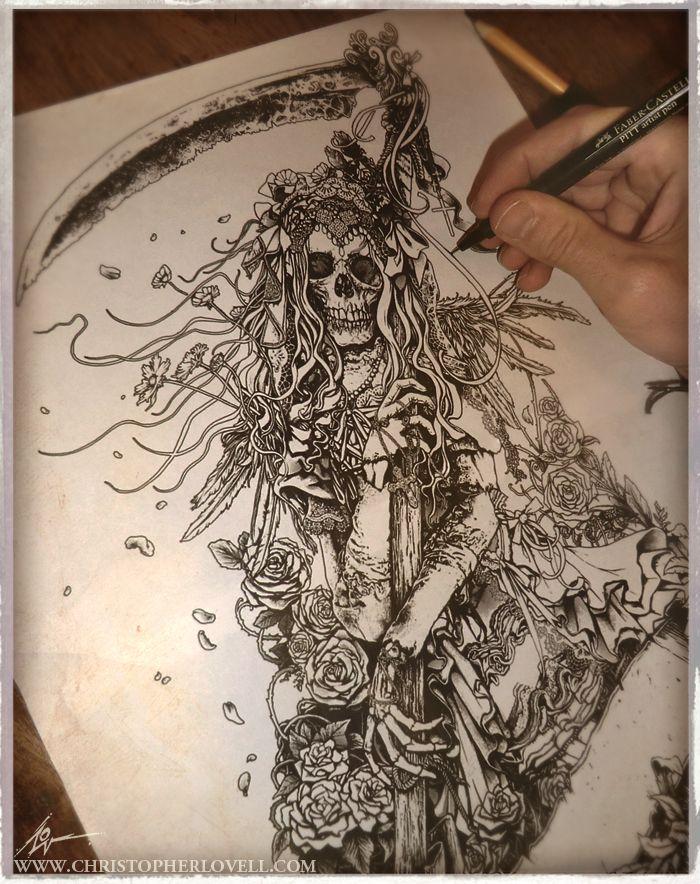 Santa Muerte Inked Sketch By Lovell Art On Deviantart Santa