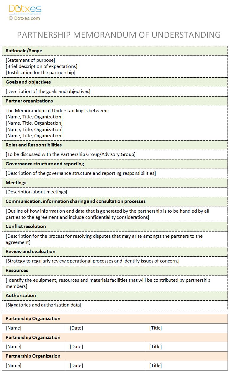 Memorandum of understanding template for partnership memo memorandum of understanding template for partnership spiritdancerdesigns Choice Image