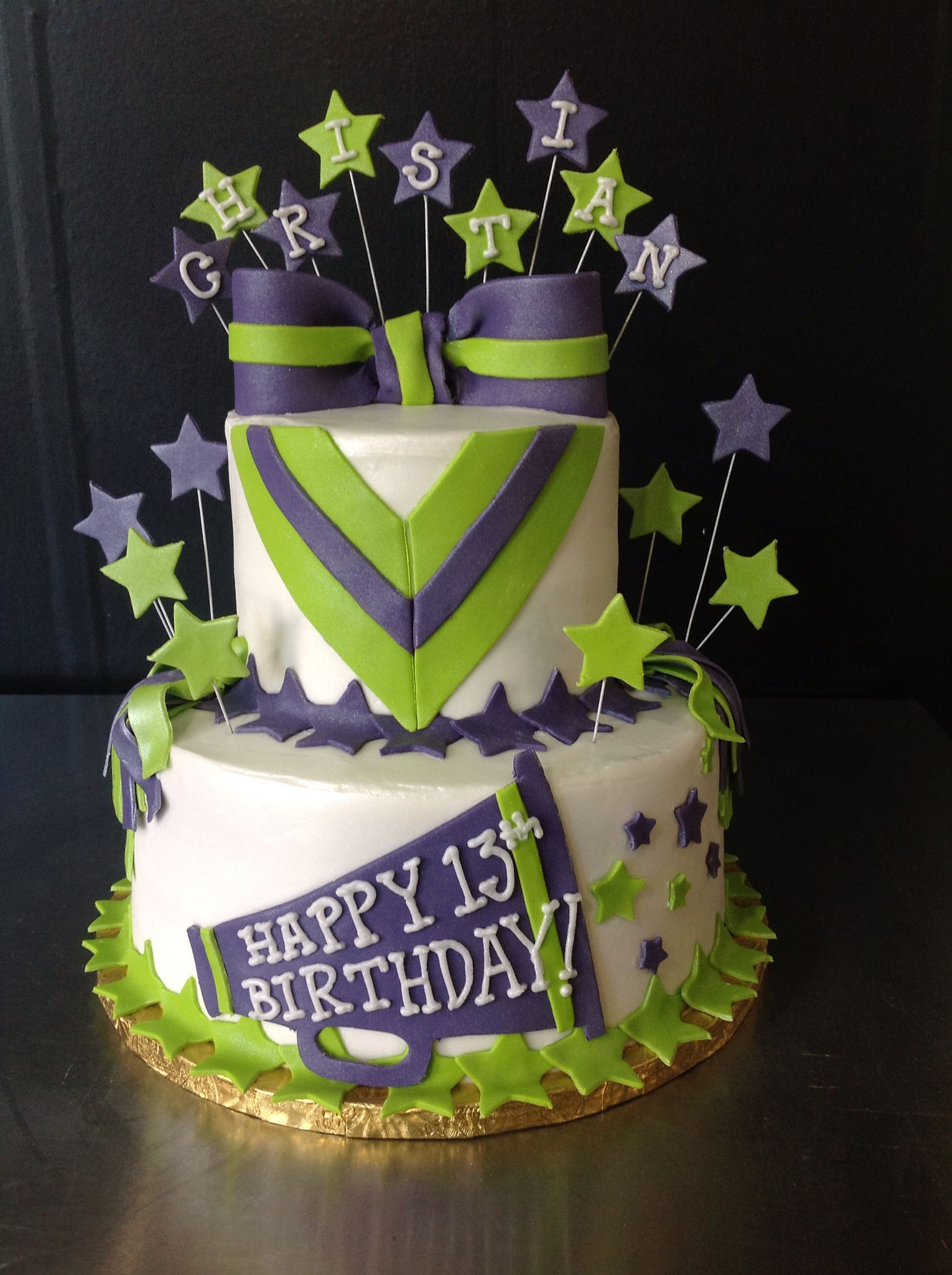 Amazing This 2 Tier Buttercream And Fondant Cake Is Perfect For Your Personalised Birthday Cards Veneteletsinfo