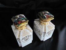 Pair 19thC Old Paris Porcelain Tea Caddy Hand Painted Portrait or Scent Bottle