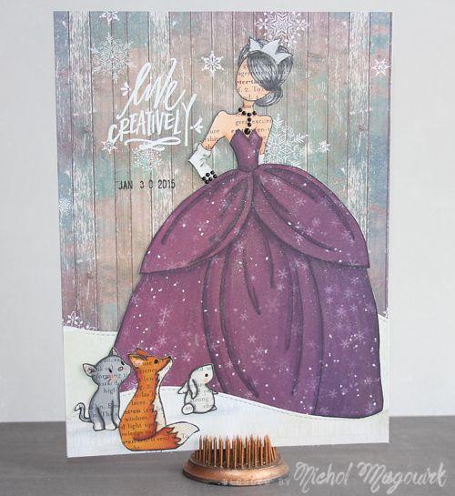 January 2015 Paper Doll Art Journaling Page. #paperdoll #artjournal #julienutting