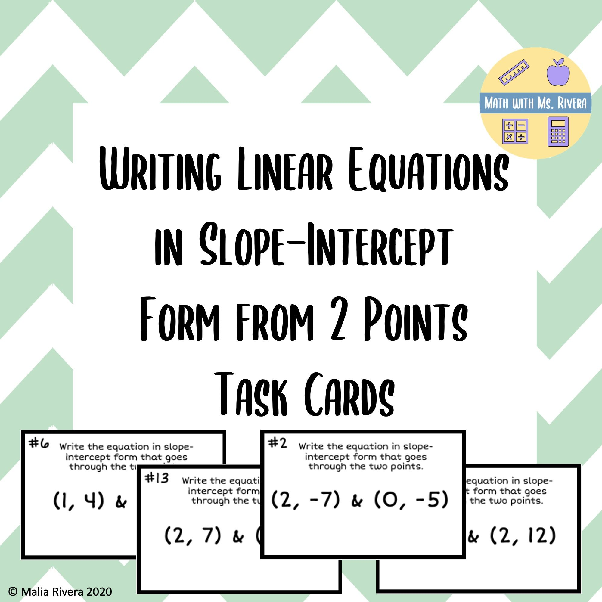 Writing Linear Equations In Slope Intercept Form From 2