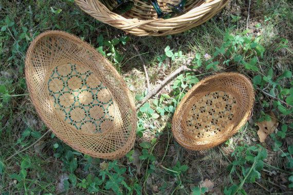 Basket Pair Grass Oval With Teal Accents Home by AntiquesandVaria, $16.80