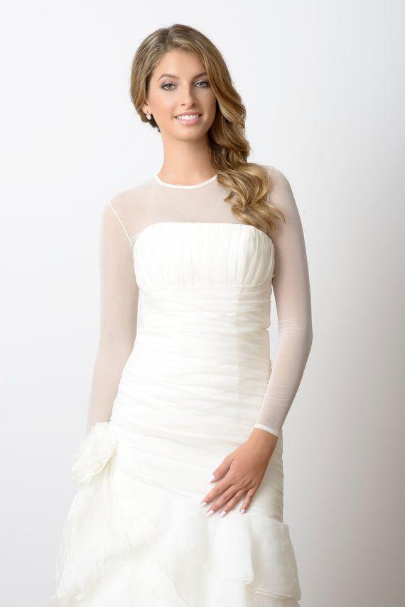 Semi Sheer Bodysuit Ceremony Bridal Cover Up Wedding Gown Dress Bolero