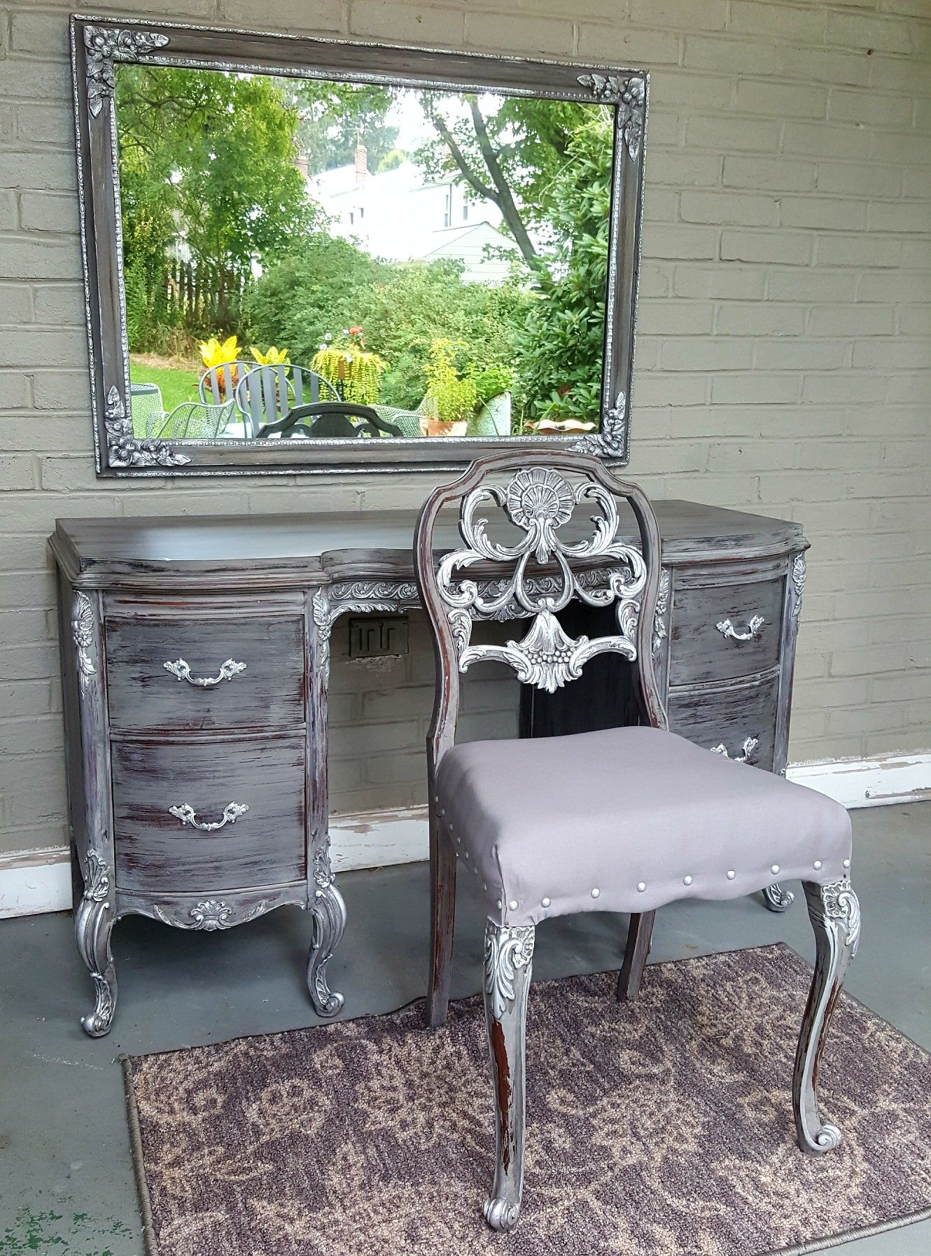 My newest creation a year old vanity chair and mirror set