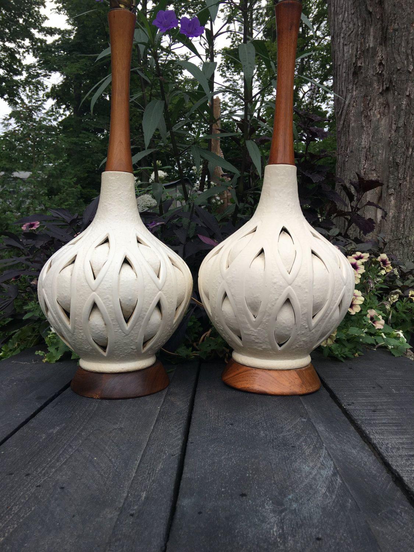 Pair Of Mid Century Danish Modern Scandinavian Ceramic Porcelain Lamps Mid Century Modern Lamps Scandinavian Ceramic Pottery Lamp Mid Century Modern Lamps
