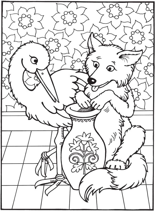 best loved aesops fables the fox and the stork coloring book for children