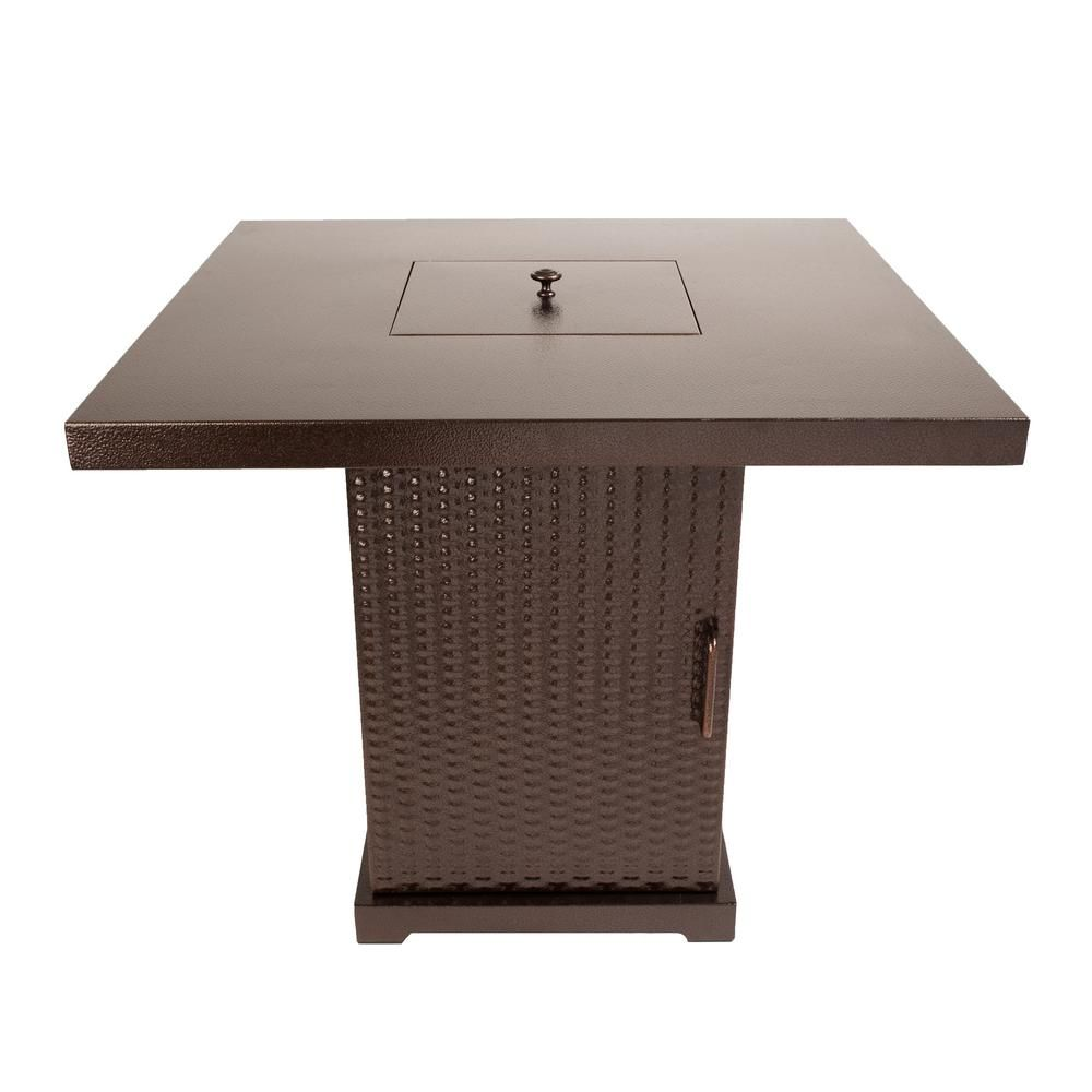 Photo of Pleasant Hearth Warren 30 in. x 27 in. Square Steel Propane Gas Fire Pit Table in Hammered Bronze with Glass Fire Rocks-OFG466TA – The Home Depot