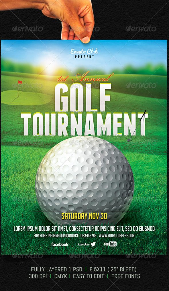 Golf Tournament Flyer Golf, Fonts and Template - golf tournament brochure
