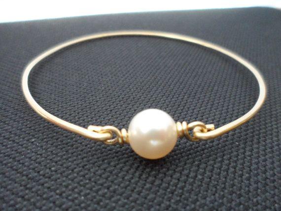Ivory Pearl and Brass Bangle Bracelet by weddingbellsdesigns