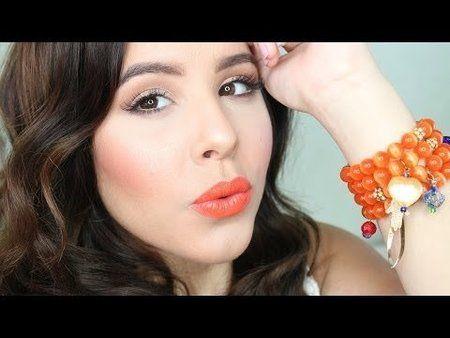 neutral eyes orange lips  spring 2014 beginner