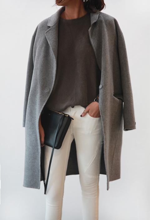 Grey coat, white jeans  #minimalist #fashion #style