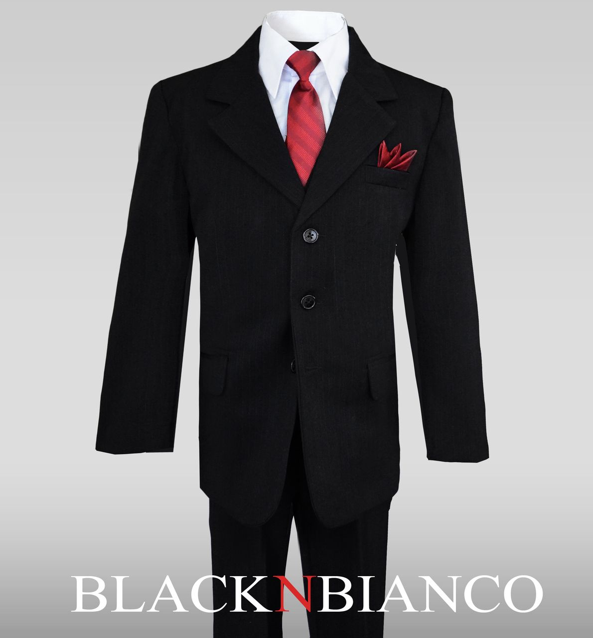 3293e124b474 American Cut Boys Pinstripe black suit. by Black n Bianco. Perfect for ring  bearrs.