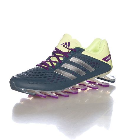 adidas Women s running sneaker Spring-blade bottom sole for bouncy  performance Mesh detail Lace up closure adidas logo lettering Cushioned  inner sole 1fccf89e5b