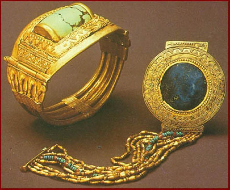 Egyptian Gold Cuff With Scarab And Bracelet With Lapiz