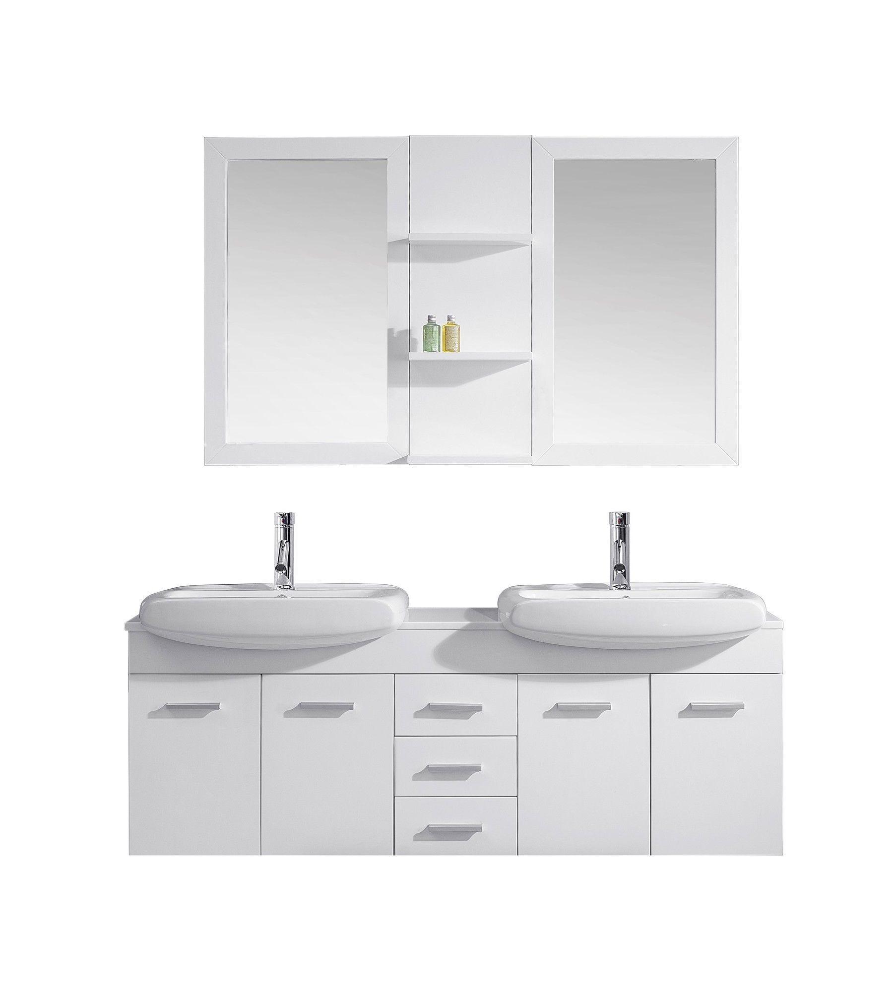 Ultra Modern Series 59 Double Bathroom Vanity Set With Mirror