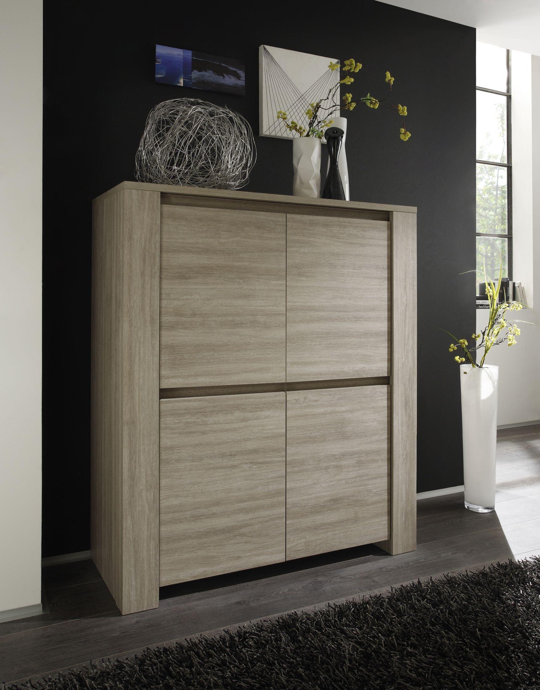 Le Vaisselier concernant vaisselier/argentier 4 portes pleines contemporain chêne gris