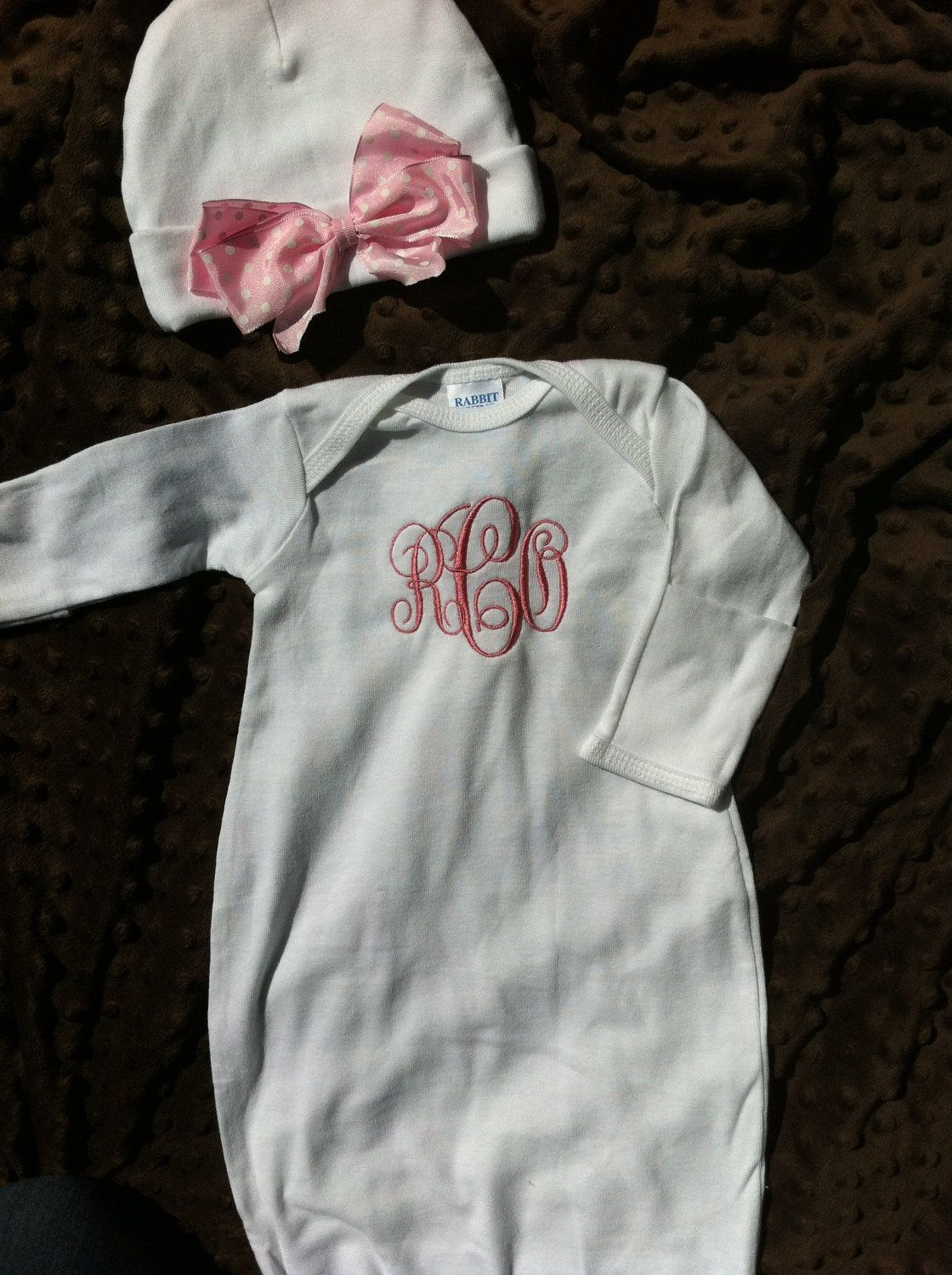 love  personalized infant gown and hat - newborn gown - monogrammed baby gift