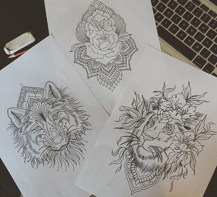lion wolf mandala flower tattoo tattoo ontwerpen pinterest mandala flower tattoos flower. Black Bedroom Furniture Sets. Home Design Ideas