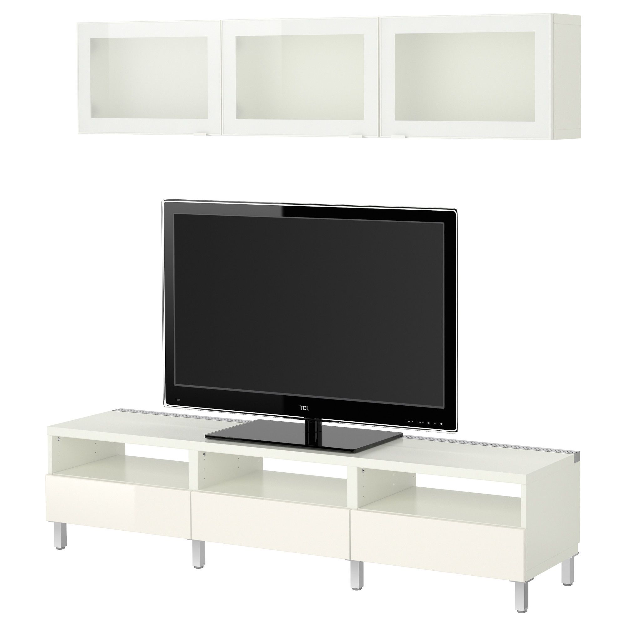 BEST… TV storage bination white Tofta high gloss white frosted