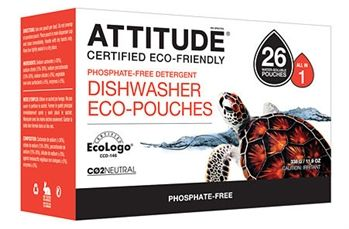 Biodegradable Dishwasher Eco-Pouches! Only $8.99 We all want the best for our families. That's why we offer ATTITUDE Dishwasher Eco-Pouches, a natural and efficient option to clean dirty dishes. Even though chemicals linked to cancer are legally tolerated in dishwasher detergents, we don't think you want them in your home. #iliveconsciously