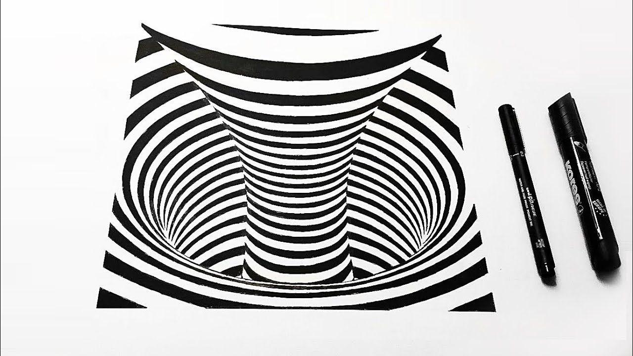 3d Drawing Teleport Black Hole Optical Illusion Optical