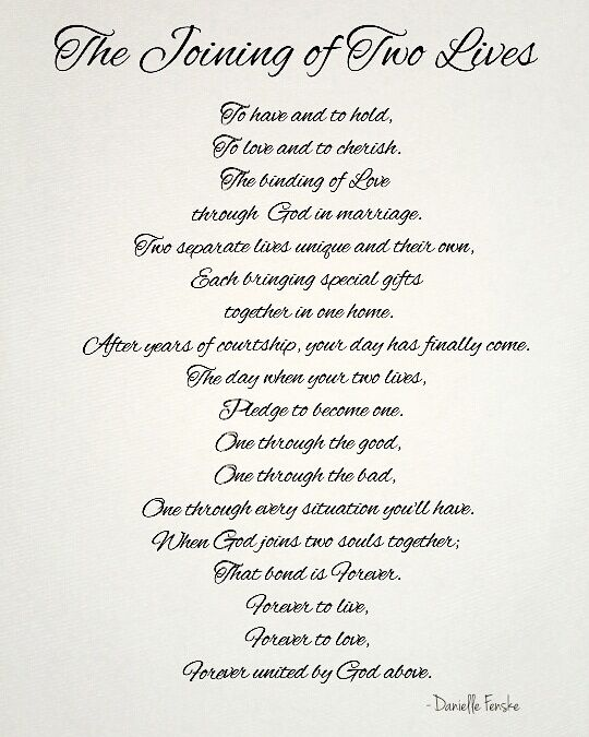 A Poem A Gift I Wrote For My Uncle And His Bride On Their