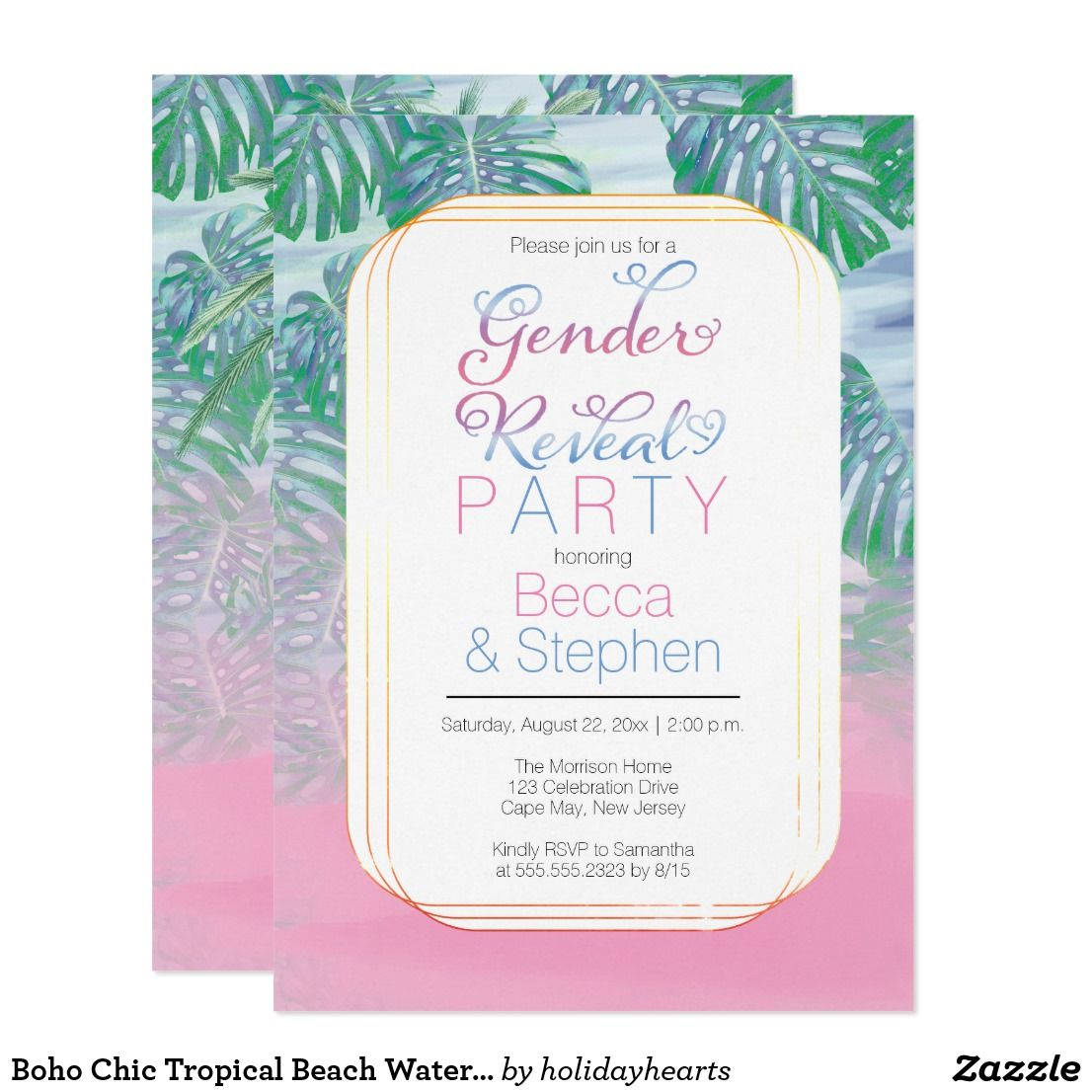 Boho Chic Tropical Beach Watercolor Gender Reveal Invitation