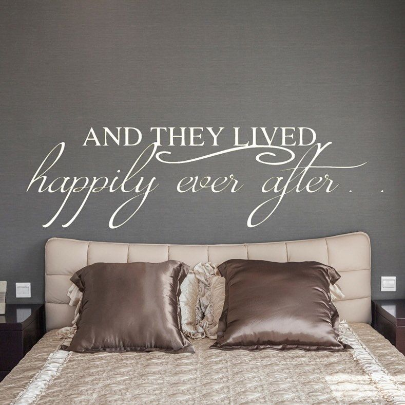 AND THEY LIVED HAPPILY EVER AFTER WALL DECAL VINYL WALL DECAL STICKER LETTERING