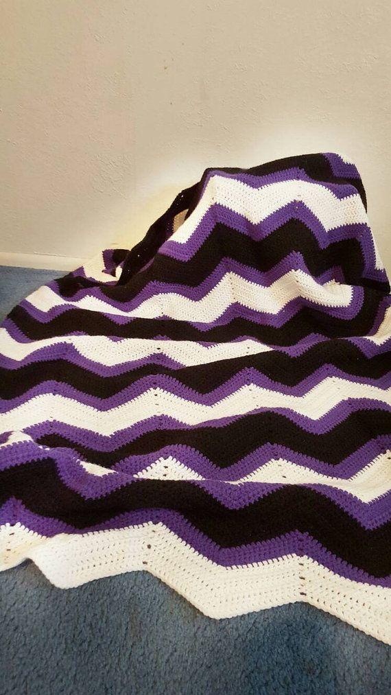 Handmade purple crochet blanket. Crochet throw. Handmade afghan ...
