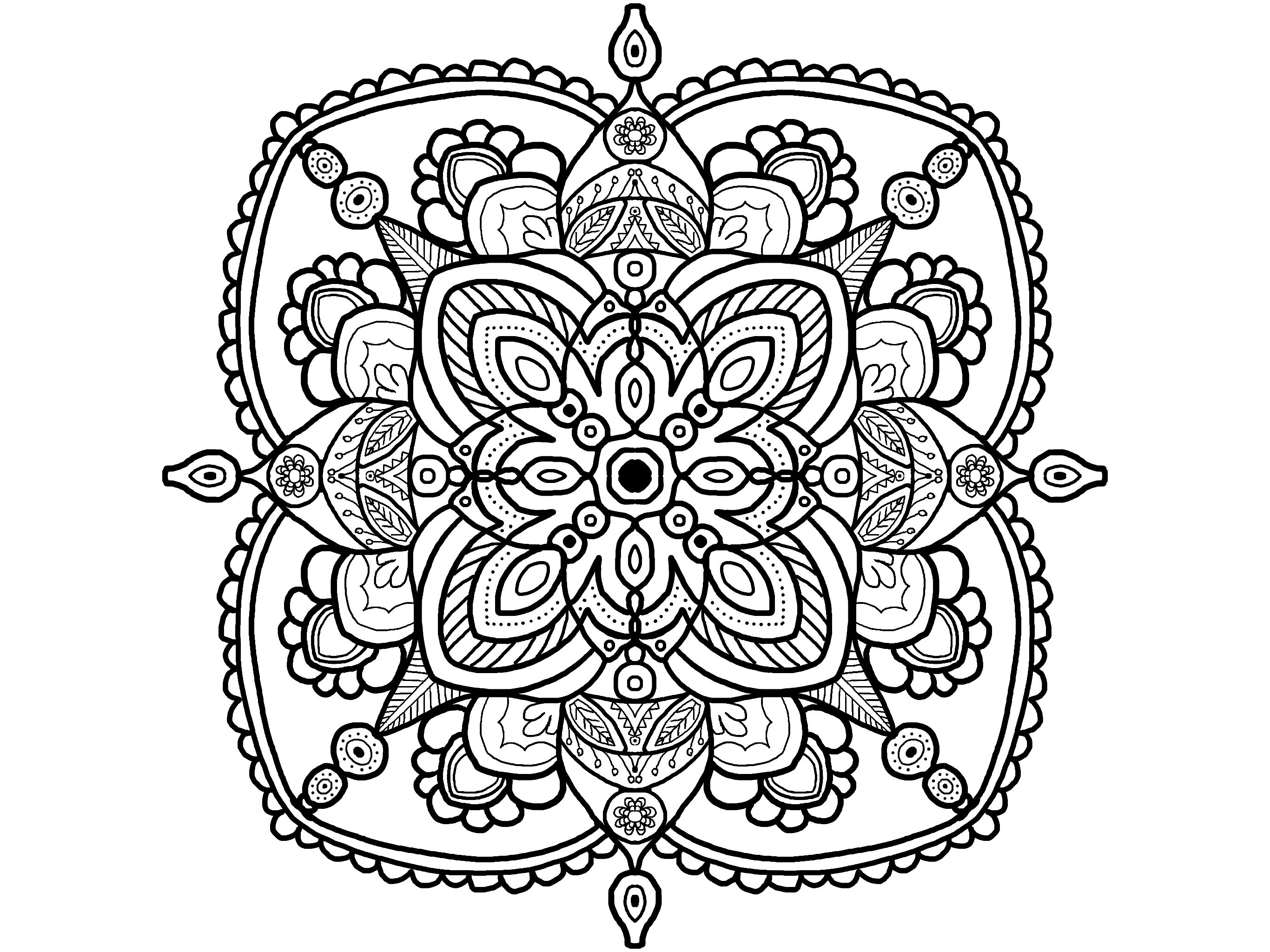 Mandala Coloring Page Adult Easy Fun