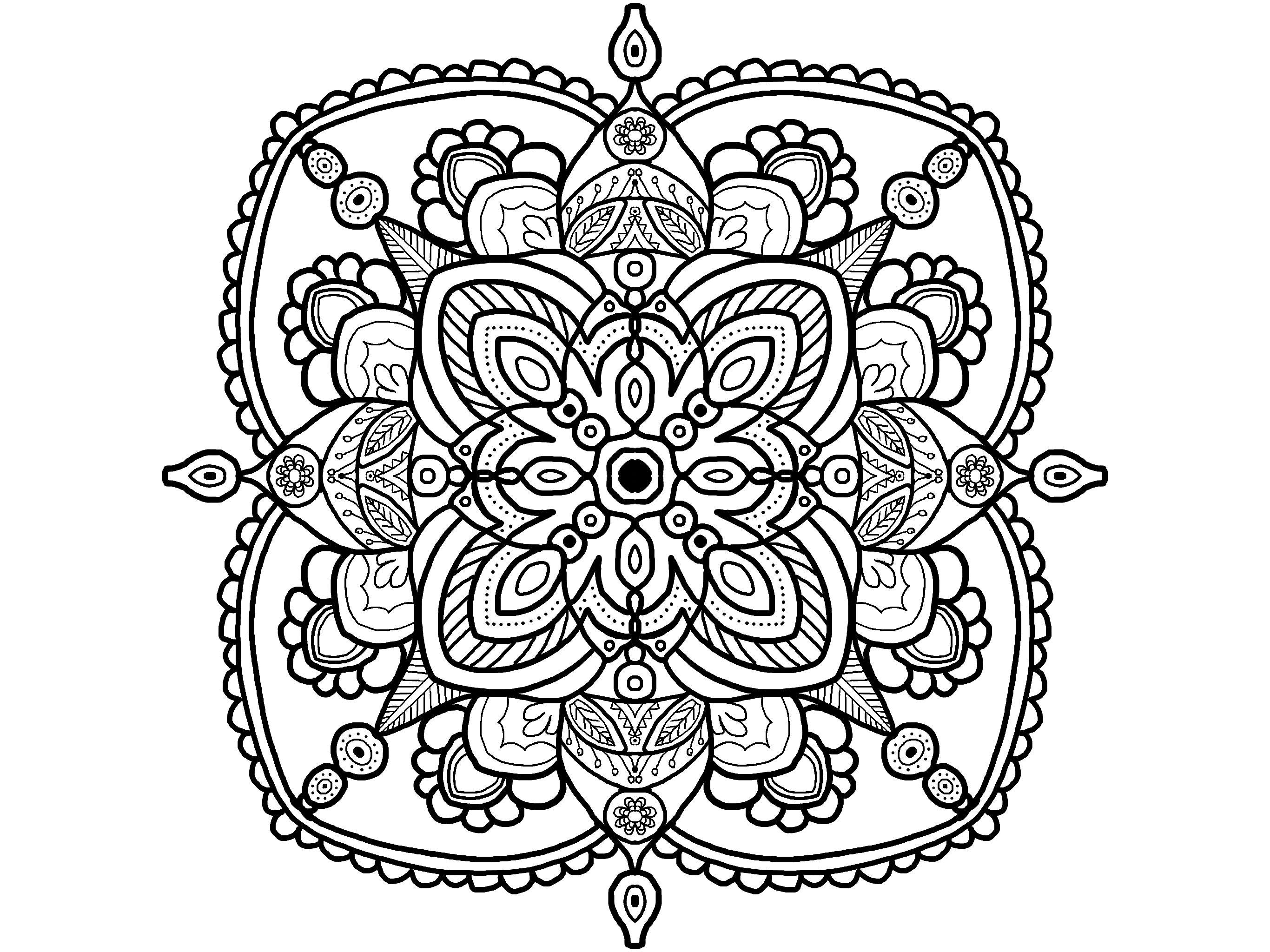 Mandala Coloring Page Adult Coloring Page Easy Mandala