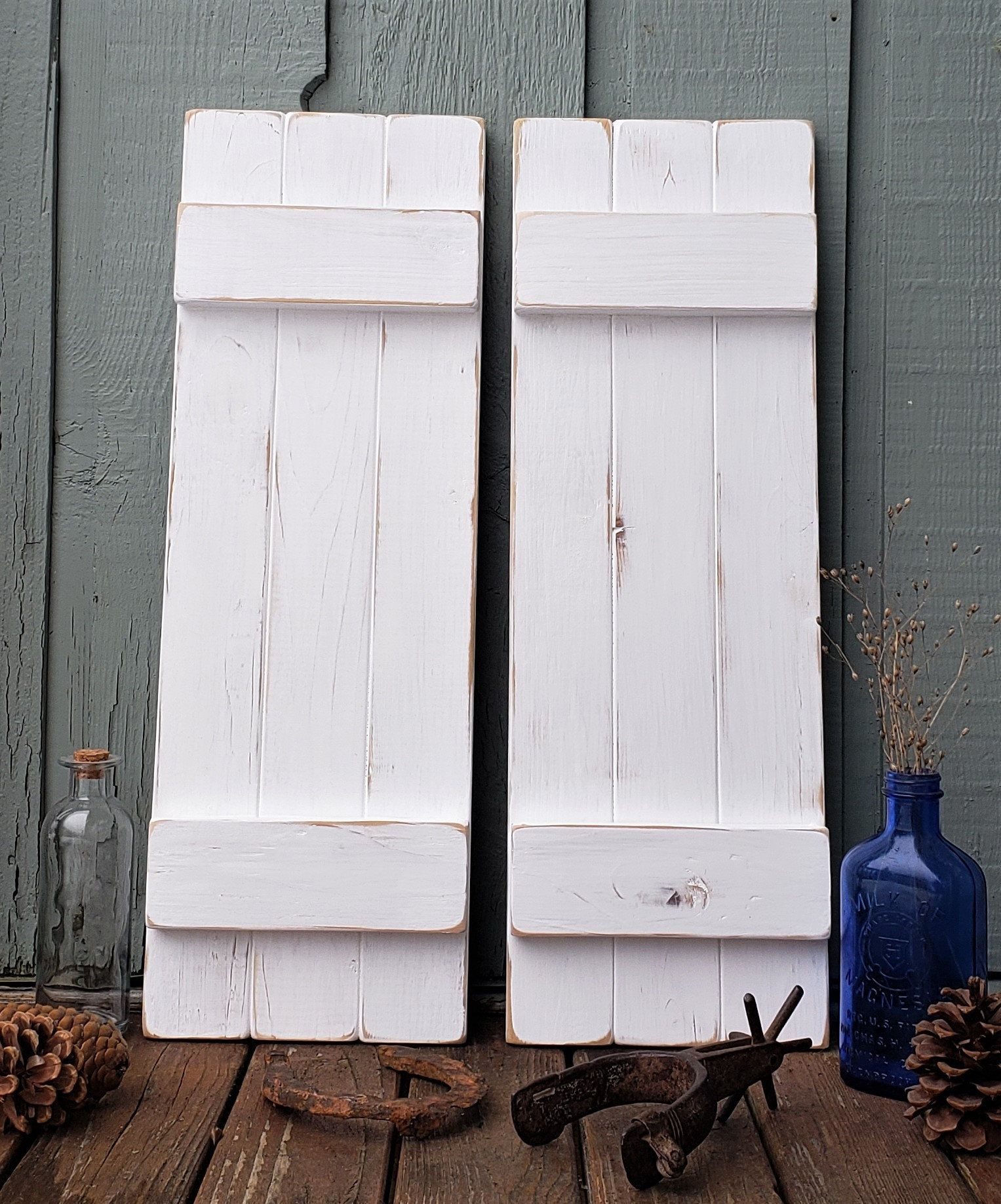 Distressed White Painted Wood Shutters Rustic Wood Shutters