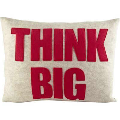 Alexandra Ferguson Mantras Think Big Lumbar Pillow Products Big Pillows Applique Pillows Pillows