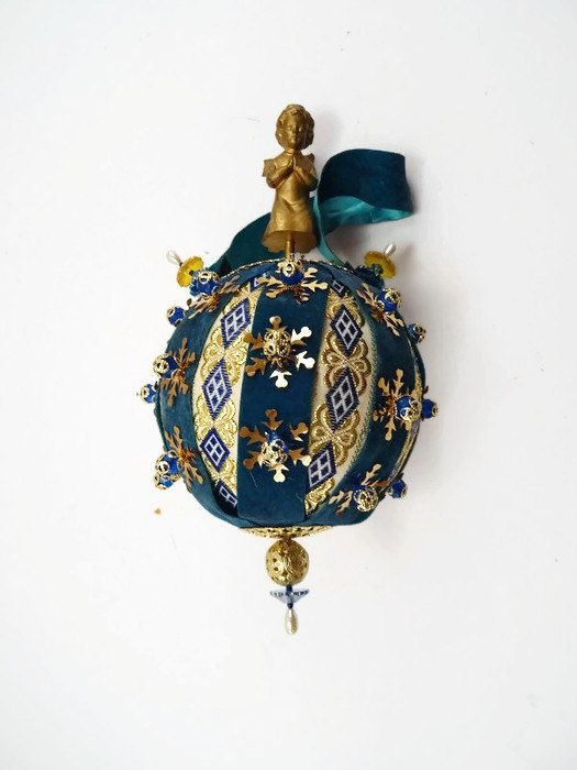 Vintage Victorian Christmas Ornament Blue and Gold Angel Beaded Home Made…