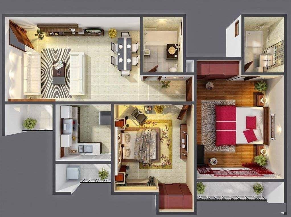Top 10 Best Amazing 3d Floor Plan Designs 1 Bedroom House Plans Two Bedroom House Three Bedroom House Plan