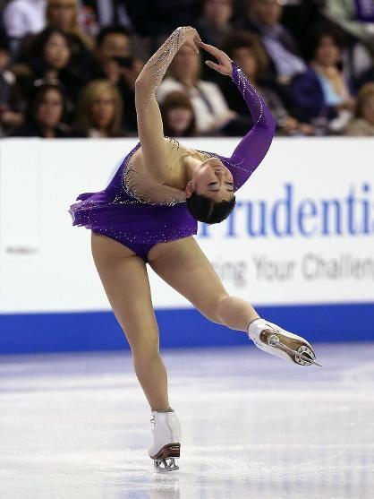 Mirai Nagasu, Ladies short at Skate America 2014, Purple Figure Skating / Ice Skating dress inspiration for Sk8 Gr8 Designs.