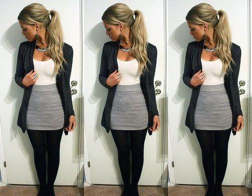 37ce0b80ce83ae gray skirt outfits | gray skirt, black nylons,white top, black cover |  outfits