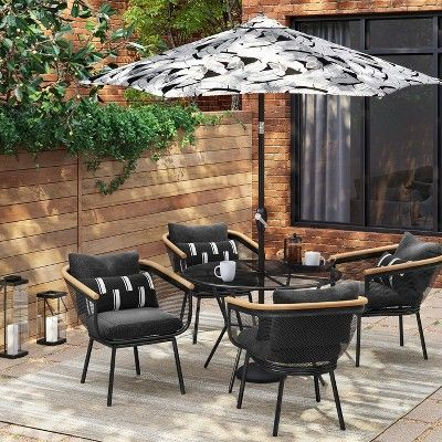 Bangor 4 Person Round Patio Dining Table Black Project 62 Patio Dining Set Patio Dining Chairs Patio Furniture Sets