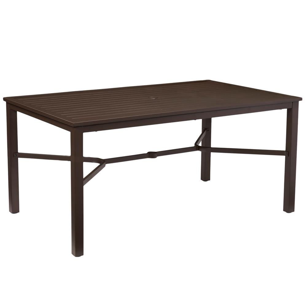 Rectangular Dining Table With Bench: Hampton Bay Mix And Match Rectangular Metal Outdoor Dining