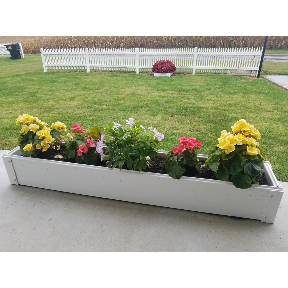 Handy Bed 8 5 In X 48 In X 6 In White Vinyl Raised Garden Bed